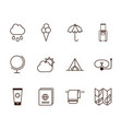 tourism vacations travel related icons set line vector image vector image