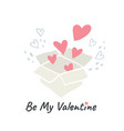 valentines day greeting card design hearts box vector image vector image
