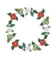 watercolor coffee branch berry wreath frame vector image vector image