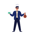 wealthy happy man holding banknote money bag and vector image
