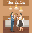 wine tasting in old winery flat poster vector image vector image