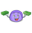 with money bag blueberry roll cake mascot cartoon vector image vector image