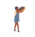 woman carrying fruit harvest flat vector image vector image