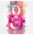 women day background with frame flowers 8 march vector image vector image
