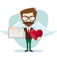 angel man-hipster with wings a heart and letter vector image vector image