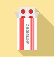 antibiotic package box icon flat style