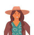 beautiful girl in a brown hat on a white vector image