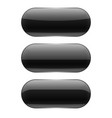 black oval glass buttons 3d vector image vector image
