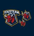 bull mascot logo design for sport or e-sport vector image vector image