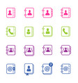 contact us address book icons in isolated vector image