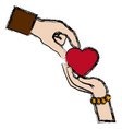 couple hands man and female giving heart love vector image vector image