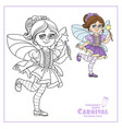 cute girl in fairy costume color and outlined vector image vector image