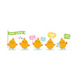 cute little chicks bunner with greeting speech vector image vector image