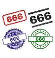 damaged textured 666 seal stamps vector image