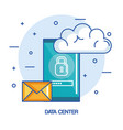 data center mobile phone email cloud technology vector image vector image