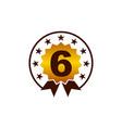 emblem best quality number 6 vector image vector image