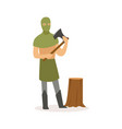 executioner standing with axe european medieval vector image