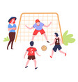 family playing football summer outdoor activity vector image