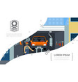 flat car repair service concept vector image vector image