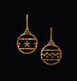 golden glitter christmas ball deocoration icon vector image vector image