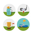 golf sport round icons vector image