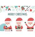 group santa with bag and gift merry christmas card vector image