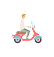 guy is riding a motor scooter a person vector image vector image