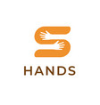 hands holding s letter logo template creative vector image