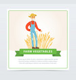 happy old farmer stands in front of wheat field vector image vector image