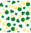 happy st patrick s day seamless pattern golden vector image vector image