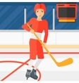 Ice-hockey player with stick vector image vector image