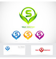 Letter S green leafs logo set vector image vector image