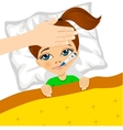 little girl ill in bed with thermometer in mouth vector image