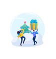 man makes a christmas gift to a girl have a fun vector image