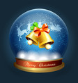 merry christmas snow globe vector image