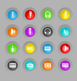musical colored plastic round buttons icon set vector image