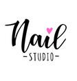 nail studio lettering vector image