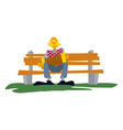 old man on a bench with an accordion vector image