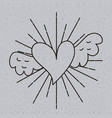 outline heart love with wings tattoo decoration vector image vector image