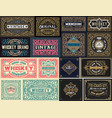 pack of 16 vintage labels vector image vector image