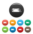 packed sleep bag icons set color vector image