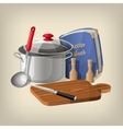 Pan ladle recipe book cutting board and knife vector image