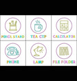 pencil stand and tea cup set vector image vector image