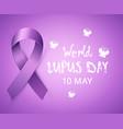realistic purple awareness ribbon to world lupus vector image