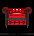 Red classic armchair over black background Digital vector image vector image