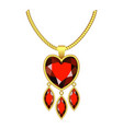 ruby heart jewelry icon realistic style vector image
