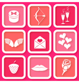 Set of 9 icons of Valentines day symbol vector image