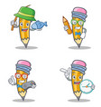 set of pencil character with fishing student gamer vector image