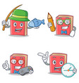 set of red book character with fishing student vector image vector image
