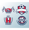 set of soccer cup emblems vector image